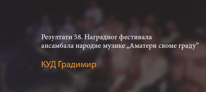 """Резултати 58. Фестивала  ансамбала народне музике """"Аматери своме граду"""""""